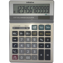 INITIATIVE DESKTOP CALCULATOR 12 DIGIT DUAL POWERED LARGE GREY